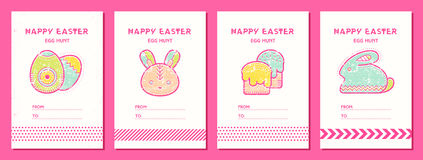 Cute Easter seamless pattern with Easter eggs, rabbit, Easter bunny and Easter cakes Royalty Free Stock Images