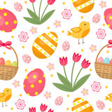 Cute Easter seamless pattern with eggs in basket, birds and flowers. Endless Spring background, texture, digital paper Royalty Free Stock Photos