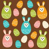 Cute easter seamless pattern with eggs and bunnies,  illustration Stock Photography