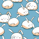 Cute Easter seamless pattern. Fat rabbits background. Hand drawn doodle bunny characters. stock illustration