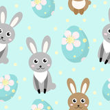 Cute Easter seamless pattern with rabbit and eggs, endless backdrop. Holiday background, texture, digital paper. Vector Stock Photos