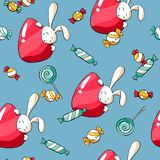 Cute Easter seamless pattern with rabbits, eggs, lollipops and candy`s. Easter background for fabric and wrapping papper stock illustration