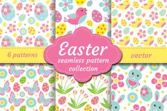 Cute easter seamless pattern set with nestling, rabbit, eggs, flowers. Spring collection repeating textures. Children. Kids, baby endless background kit royalty free illustration