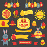 Cute Easter set of labels, ribbons and other Stock Photography