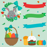 Cute Easter Set with Rabbit, Easter Eggs and Ribbons. Vector. Illustration Royalty Free Stock Images
