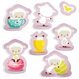 Cute easter stickers isolated. Vector illustration Royalty Free Stock Images