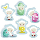 Cute easter stickers isolated Stock Photo