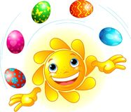Cute Easter Sun juggling Royalty Free Stock Images