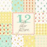 12 cute easter vector patterns (tiling) Stock Images