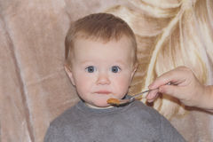 Cute eating baby 1 year. Image of cute eating baby 1 year Stock Photos