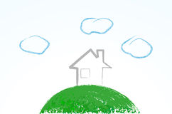 Cute eco house vector illustration