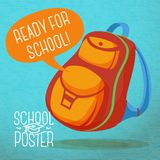 Cute education poster - backpack, with speech Stock Images