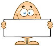 Cute Egg Cartoon Mascot Character Holding A Blank Sign Royalty Free Stock Photography