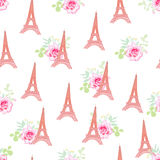 Cute Eiffel towers floral seamless vector pattern Royalty Free Stock Image