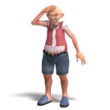 Cute elder man in short trousers. 3D rendering of a cute elder man in short trousers with clipping path and shadow over white Royalty Free Stock Photo