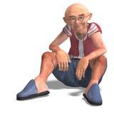 Cute elder man in short trousers Stock Images
