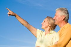 Cute elderly couple at nature Royalty Free Stock Photography