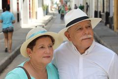 Cute elderly Hispanic couple outdoors stock images