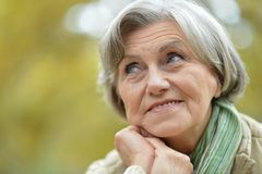 Cute elderly woman in the park Stock Photography