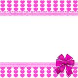 Cute elegant template with pink lined hearts pattern, space for. Text and bow on white background. Vector border, frame, banner, poster for valentines festive Royalty Free Illustration
