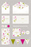Cute and elegant wedding set. Royalty Free Stock Image