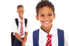 Cute elementary schoolboy. In front of classmate Stock Images