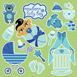 Cute elements for Asian newborn baby boy. Royalty Free Stock Images