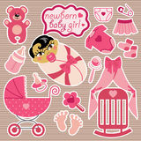 Cute elements for Asian newborn baby girl. Royalty Free Stock Image