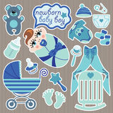 Cute elements for European newborn baby boy. Royalty Free Stock Photos