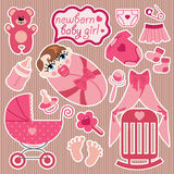 Cute elements for European newborn baby girl. Stock Images
