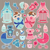 Cute elements for European newborn baby twins Royalty Free Stock Images