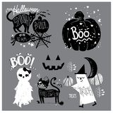 Cute Elements of Halloween vector illustration