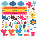 Cute elements for kids. A set of cute elements for kids royalty free illustration