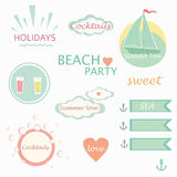 Cute elements, labels, logos, summer holiday vector Stock Images
