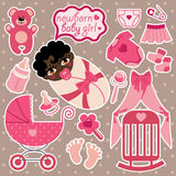 Cute elements for mulatto newborn baby girl. Royalty Free Stock Photography