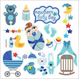 Cute elements for newborn baby boy Stock Images