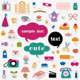 Cute elements sticker collection Stock Photography
