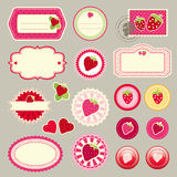 Cute elements with strawberries Stock Images