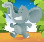 Cute Elephant. Cartoon illustration of a cute cartoon Elephant running through the jungle Stock Photo