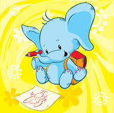 Cute elephant. With school bag drawing on paper Royalty Free Stock Photography
