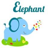 A cute elephant. Cute animal alphabet. E letter. Cute Elephant cartoon Stock Photo
