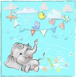 Cute elephant with balloon hand drawn vector illustration. Can be used for t-shirt print, kids wear fashion design, baby. Shower invitation card Royalty Free Stock Images