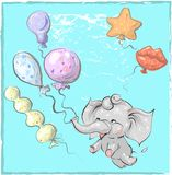 Cute elephant with balloon hand drawn vector illustration. Can be used for t-shirt print, kids wear fashion design, baby. Shower invitation card Stock Images