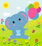 Cute elephant with balloons. Illustration of cute elephant with balloons Royalty Free Stock Images