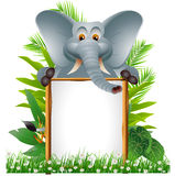 Cute elephant with blank sign Royalty Free Stock Photo