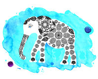 Cute elephant on blue watercolor background Royalty Free Stock Images