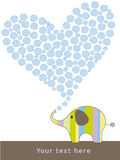 Cute elephant card. Card with illustration of a cute elephant making an heart of bubbles. Copy space for text Royalty Free Stock Images