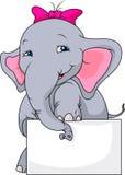 Cute elephant cartoon and blank sign Royalty Free Stock Photos