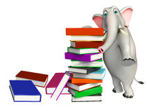 Cute Elephant cartoon character with book stack Stock Photo