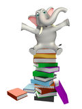 Cute Elephant cartoon character with book stack Stock Image